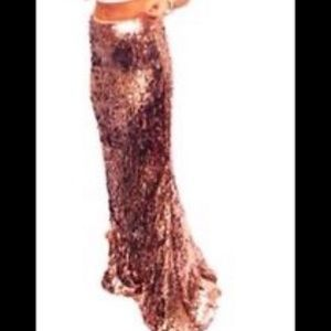 Free People Rose Gold Sequin Maxi Skirt